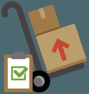pudełka na wózku i inwentarz (Magazynowanie)